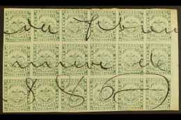 1868  50c Yellow Green, Scott 56, An Impressive Used BLOCK OF EIGHTEEN (6 X 3) With Full Margins And With...