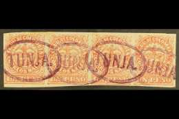 """1868  1p Rose-red, Type I, Scott 57b, A Fine Used STRIP OF FOUR With Good Margins And With Four Oval """"TUNGA""""..."""