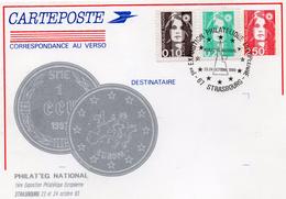 France 1993 Carte Entier Postal Repiquage Marianne Du Bicentenaire Philat'eg National Strasbourg écu (01359)