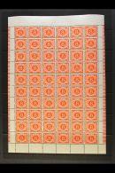 1962 POSTAGE DUE  8d Orange, Watermark Inverted, SG D12w, Complete Pane Of Sixty, Showing Varieties At 9/5...