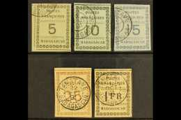 1891  Numeral Issue Complete Set To 1fr, Yv 8/12, Fine And Fresh Used With Margins All Round. (5 Stamps) For More...