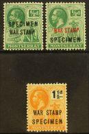 """1917 - 1919  War Tax Set Complete, Ovptd """"Specimen"""", SG 60s/62s, Very Fine Mint. (3 Stamps) For More Images,..."""