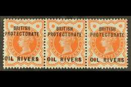 OIL RIVERS  1892. ½d Vermillion - Horizontal Strip Of Three, SG 1, Both Outer Stamps Are Nhm (1 Strip Of...