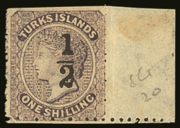 "1881  ""½"" On 1s Lilac, Setting 10, Type 10, SG 20 Fine Marginal Mint (scissor Trimmed At Top). BPA Cert...."