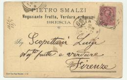 CARTOLINA PRIVATA F.BOLLO 10 CENTESIMI DA BRESCIA  1896 - 1878-00 Humbert I.