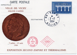 France Vichy1984 Carte Entier Postal Repiquage Pont Europa Exposition Second Empire Et Thermalisme (01276)
