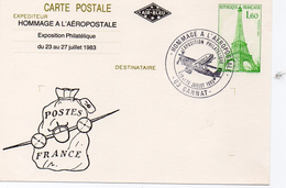 """France Gannat 1983 Carte Entier Postal Repiquage Tour Eiffel """"hommage à L'aéropostale"""" Thème Avion (01277)"""