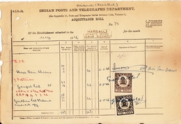 ALWAR State  1A  Black + Brown  2  Revenues On Document # 94085 Inde Indien  India Fiscaux Fiscal Revenue