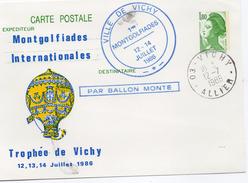 """France Vichy 1986 Carte Entier Postal Repiquage Liberté De Gandon """"mongolfiades Internationales"""" Mongolfières (01279)"""