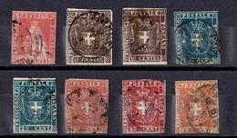 Toscane Huit Classiques Oblitérés 1851/1860. Bonnes Valeurs! A Saisir!