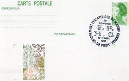 """France Vichy 1986 Carte Entier Repiquage Liberté De Gandon """"38è Congrès Du G.P.M C"""" Gravure Du Timbre Vichy (01280)"""