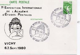 """France Vichy 1980 Carte Entier Repiquage """"Sabine"""" 1ère Expo De L'académie D'études Postales (01281)"""