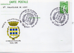 """France Vichy 1978 Carte Entier Repiquage """"Sabine"""" 50 Ans De La Société Philatélique Blason (01281)"""