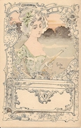 Gaston NOURY - Jeune Femme à La Robe Bleu Ciel, à La Charlotte, à L'éventail Fermé Et Au Coffret, Style Art Nouveau - Illustrateurs & Photographes
