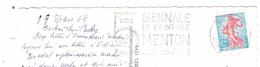 Flamme 5 E BIENNALE De PEINTURE MENTON Janvier Avril , Sur Carte Excelsior Hotel 3 Avenue Carnot ; 1964, TB