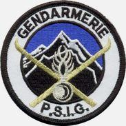 INSIGNE TISSUS PATCH GENDARMERIE NATIONALE PSIG MONTAGNE (GRENADE ARGENTEE) SUR VELCROS ETAT EXCELLENT - Police & Gendarmerie
