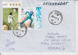 Romania Used Envelope Ion Tiriac Tennis Player Ski Skiers Cross Country Skiing Registered Letter Circulated