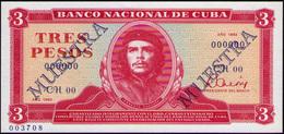 CUBA RARE 3 PESOS 1983 MUESTRA PICK 107AS1 - Cuba