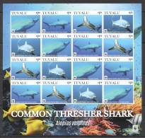 UU231 2016 !!! IMPERFORATE TUVALU WWF MARINE LIFE COMMON THRESHER SHARK 1SH MNH