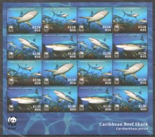 UU243 2014 NEVIS WWF MARINE LIFE CARIBBEAN REEF SHARK 1SH MNH