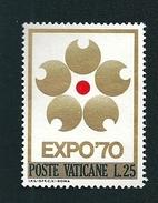 N°  497 Expo Universelle D'Osaka   Timbre Vatican (1970) Oblitéré  25 L - Oblitérés