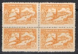 ALGERIE COLIS POSTAL N°117 N** EN BLOC DE 4, Variété Sans Surcharge - Algérie (1924-1962)