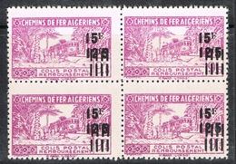 ALGERIE COLIS POSTAL N°198 N** EN BLOC DE 4, Variétés Sans Surcharge Et Avec Noix De Coco Au Dessus Du Train - Algérie (1924-1962)