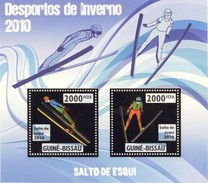 GUINE BISSAU 2010 SHEET WINTER SPORTS OLYMPIC GAMES JEUX DE HIVER SKY JUMPING DESPORTOS Gb10201a Gold - Guinea-Bissau