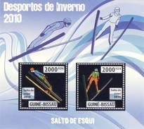 GUINE BISSAU 2010 SHEET WINTER SPORTS OLYMPIC GAMES JEUX DE HIVER SKY JUMPING DESPORTOS Gb10201a Silver - Guinea-Bissau