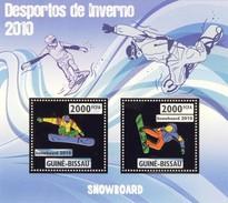 GUINE BISSAU 2010 SHEET WINTER SPORTS OLYMPIC GAMES JEUX DE HIVER SNOWBOARDING DESPORTOS Gb10203a Gold - Guinea-Bissau
