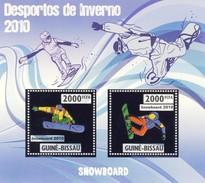GUINE BISSAU 2010 SHEET WINTER SPORTS OLYMPIC GAMES JEUX DE HIVER SNOWBOARDING DESPORTOS Gb10203a Silver - Guinea-Bissau