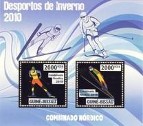 GUINE BISSAU 2010 SHEET WINTER SPORTS OLYMPIC GAMES JEUX DE HIVER NORDIC COMBINED DESPORTOS Gb10204a Gold - Guinea-Bissau