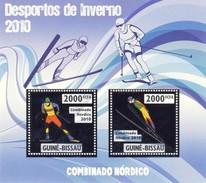 GUINE BISSAU 2010 SHEET WINTER SPORTS OLYMPIC GAMES JEUX DE HIVER NORDIC COMBINED DESPORTOS Gb10204a Silver - Guinea-Bissau