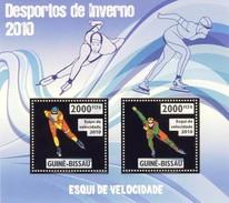 GUINE BISSAU 2010 SHEET WINTER SPORTS OLYMPIC GAMES JEUX DE HIVER SPEED SKIING DESPORTOS Gb10205a Gold - Guinea-Bissau