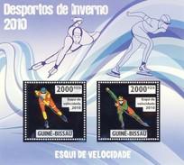 GUINE BISSAU 2010 SHEET WINTER SPORTS OLYMPIC GAMES JEUX DE HIVER SPEED SKIING DESPORTOS Gb10205a Silver - Guinea-Bissau