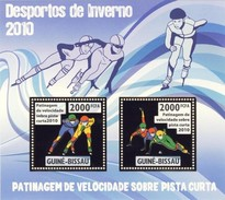 GUINE BISSAU 2010 SHEET WINTER SPORTS OLYMPIC GAMES JEUX DE HIVER SPEED SKATING SHORT RUNWAY DESPORTOS Gb10206a Gold - Guinea-Bissau