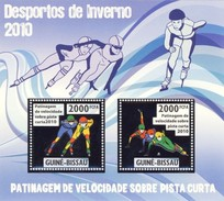 GUINE BISSAU 2010 SHEET WINTER SPORTS OLYMPIC GAMES JEUX DE HIVER SPEED SKATING SHORT RUNWAY DESPORTOS Gb10206a Silver - Guinea-Bissau