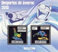 GUINE BISSAU 2010 SHEET WINTER SPORTS OLYMPIC GAMES JEUX DE HIVER SKELETON DESPORTOS Gb10207a Gold - Guinea-Bissau