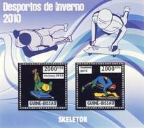 GUINE BISSAU 2010 SHEET WINTER SPORTS OLYMPIC GAMES JEUX DE HIVER SKELETON DESPORTOS Gb10207a Silver - Guinea-Bissau