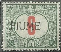 FIUME 1918 1919 SEGNATASSE TAXES TASSE POSTAGE DUE 6 F. MLH - 8. Occupazione 1a Guerra