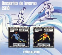GUINE BISSAU 2010 SHEET WINTER SPORTS OLYMPIC GAMES JEUX DE HIVER ALPINE SKIING DESPORTOS Gb10209a Gold - Guinea-Bissau
