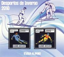 GUINE BISSAU 2010 SHEET WINTER SPORTS OLYMPIC GAMES JEUX DE HIVER ALPINE SKIING DESPORTOS Gb10209a Silver - Guinea-Bissau