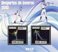 GUINE BISSAU 2010 SHEET WINTER SPORTS OLYMPIC GAMES JEUX DE HIVER BIATHLON DESPORTOS Gb10211a Gold - Guinea-Bissau