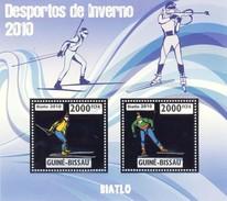 GUINE BISSAU 2010 SHEET WINTER SPORTS OLYMPIC GAMES JEUX DE HIVER BIATHLON DESPORTOS Gb10211a Silver - Guinea-Bissau