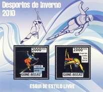 GUINE BISSAU 2010 SHEET WINTER SPORTS OLYMPIC GAMES JEUX DE HIVER FREESTYLE SKIING DESPORTOS Gb10212a Silver - Guinea-Bissau