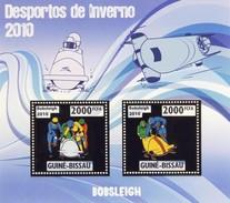 GUINE BISSAU 2010 SHEET WINTER SPORTS OLYMPIC GAMES JEUX DE HIVER BOBSLEIGH DESPORTOS Gb10213a Gold - Guinea-Bissau