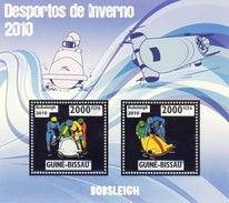 GUINE BISSAU 2010 SHEET WINTER SPORTS OLYMPIC GAMES JEUX DE HIVER BOBSLEIGH DESPORTOS Gb10213a Silver - Guinea-Bissau