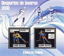 GUINE BISSAU 2010 SHEET WINTER SPORTS OLYMPIC GAMES JEUX DE HIVER CROSS SKIING DESPORTOS Gb10215a Gold - Guinea-Bissau
