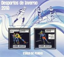 GUINE BISSAU 2010 SHEET WINTER SPORTS OLYMPIC GAMES JEUX DE HIVER CROSS SKIING DESPORTOS Gb10215a Silver - Guinea-Bissau