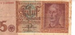 Banconota_Banconote_Lotto Di 1 Biglietto REICHSBANKNOTE_5 REICHSMARK_Serie  X 5129989-Originale 100% - [ 4] 1933-1945 : Terzo  Reich